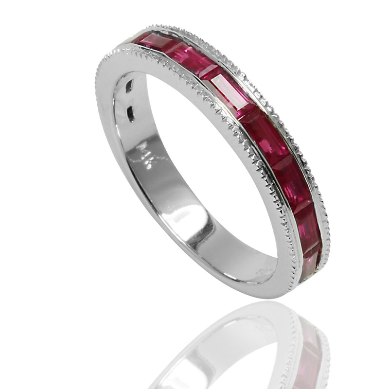 14k Gold Baguette Pink Sapphire Stackable Ring