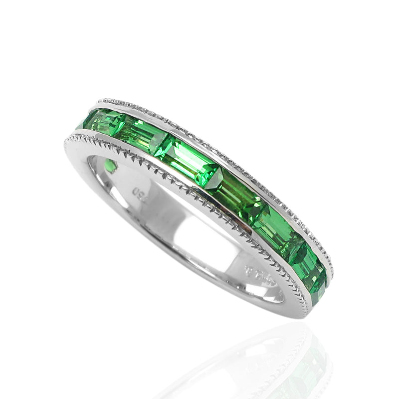 14k Gold Baguette Tsavorite Stackable Ring