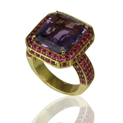 18k Gold Amethyst & Pink Sapphire Royal Ring