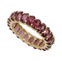 14k Gold & RHodolite Garnet Stack Eternity Ring