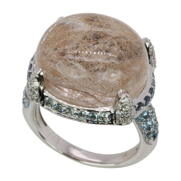 18k Gold Rutilated Quartz, Aquamarine & Diamond Ring