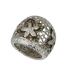 18k Gold White & Champagne Diamond Woven Flower Ring