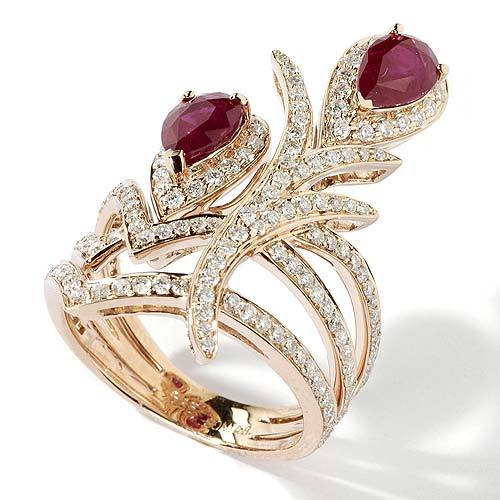 14k Gold Ornate Pear Shaped Ruby & Diamond Ring