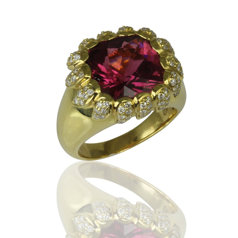 18k Gold Pink Tourmaline & Diamond Flair Ring