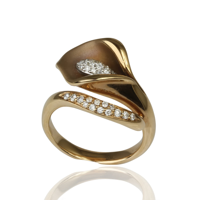 18k Gold Diamond Tulip Ring