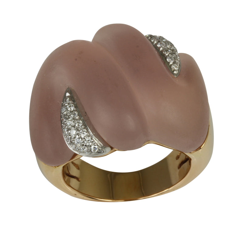18k Gold Rose Quartz Carving & Diamond Ring