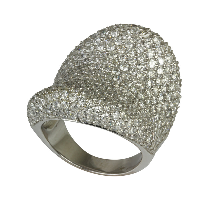 18k Gold Concave Diamond Pave Ring