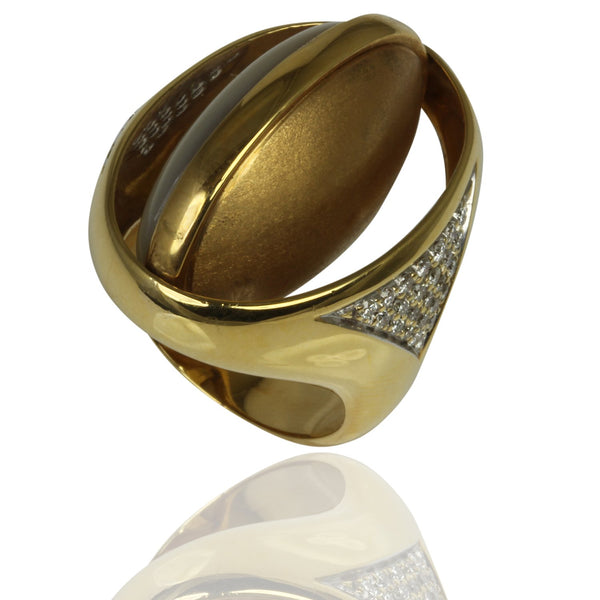 18k Gold Mother Of Pearl & Diamond Flip Ring