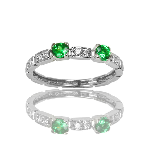 14k Two Tone Gold Tsavorite & Diamond Stackable Ring