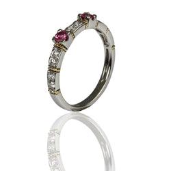 14k Two Tone Gold Pink Sapphire & Diamond Stacka
