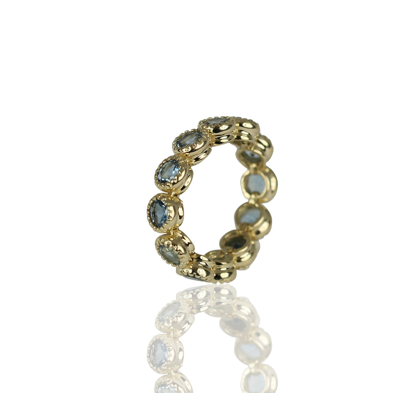14k Gold Aquamarine Eternity Stackable Flex Ring