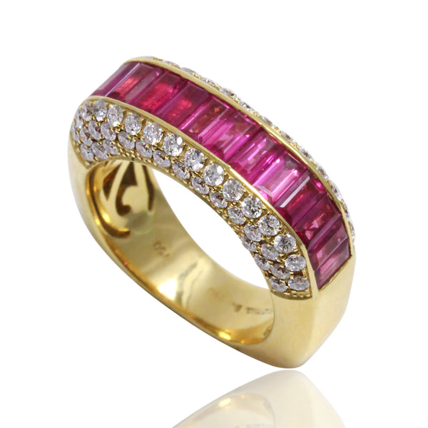 18k Gold Ruby Baguette & Diamond Square Ring