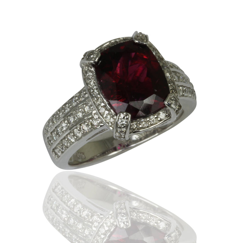 14k Gold Cushion Cut Rubellite & Diamond Ring
