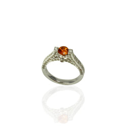 14k Gold Spessartite & Diamond Ring