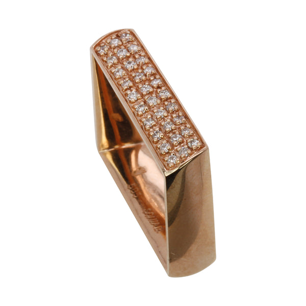 14k Gold Diamond Pave Square Ring