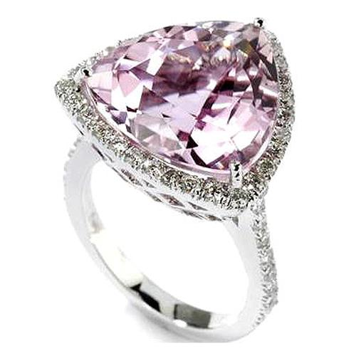 14k Gold Trillion Kunzite & Diamond Ring