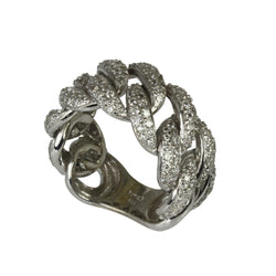 18k Gold Diamond Flex Chain Link Ring
