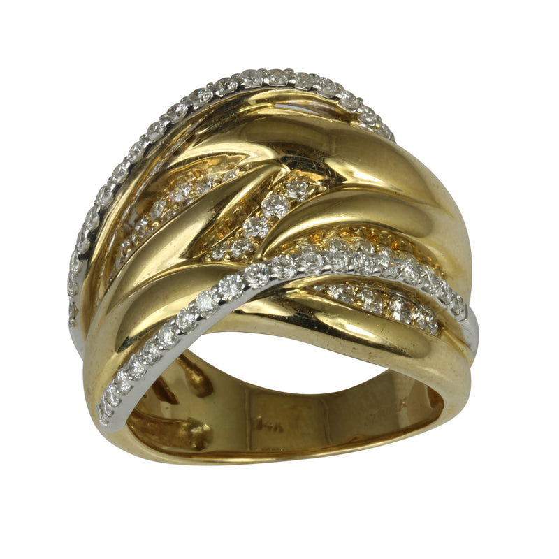 14k Gold Diamond Comtemporary Ring