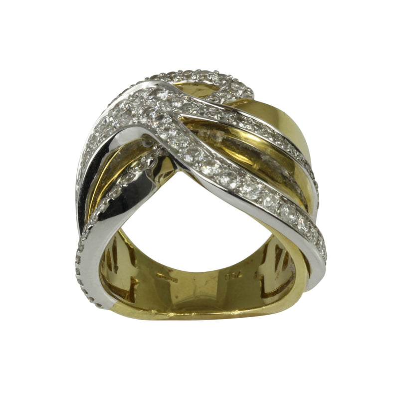 18k Two Tone Gold Wide Abstract Diamond Ring