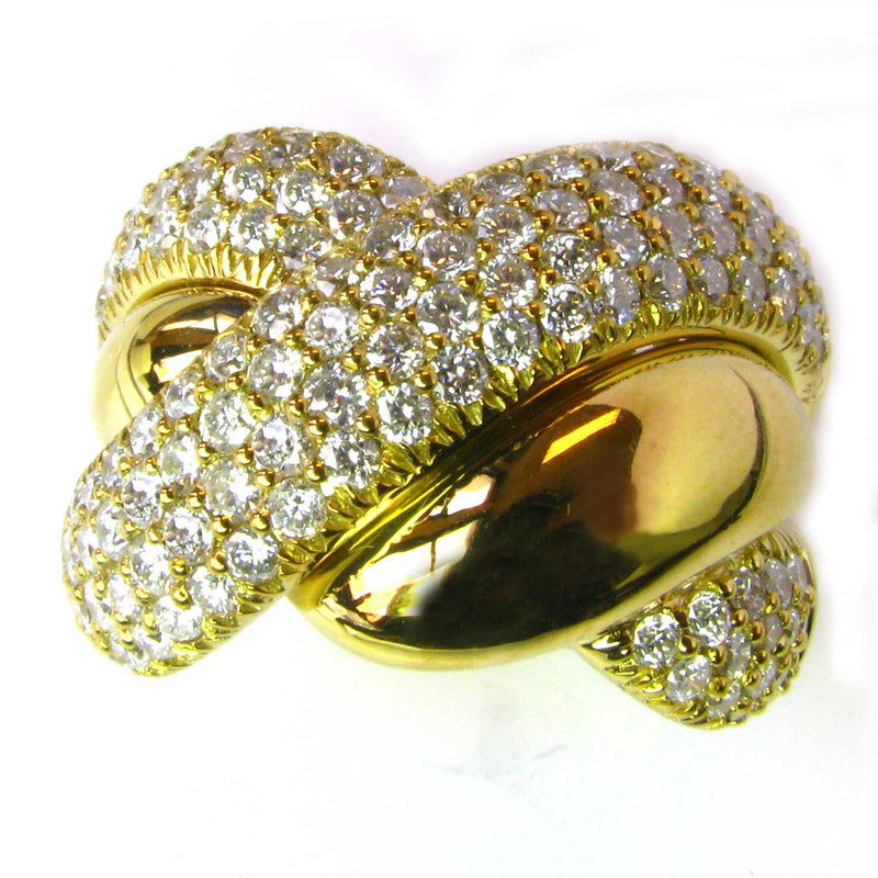 18k Gold Braided Diamond Knot Ring