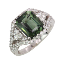 14k Gold Green Tourmaline & Diamond Fancy Ring