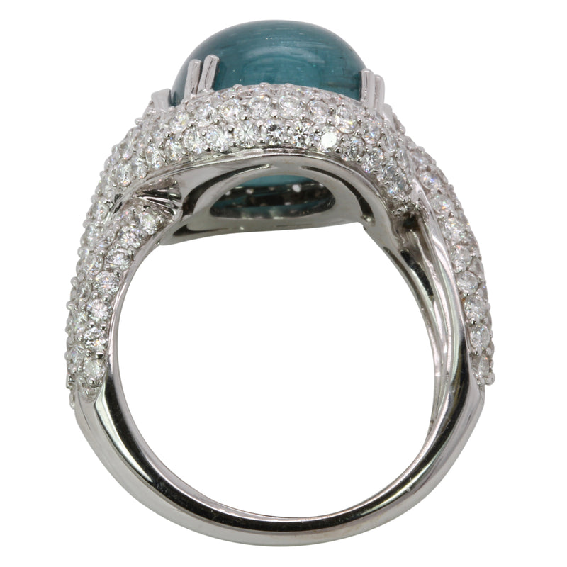 18k Gold Teal Tourmaline Cabochon & VS Diamond Ring