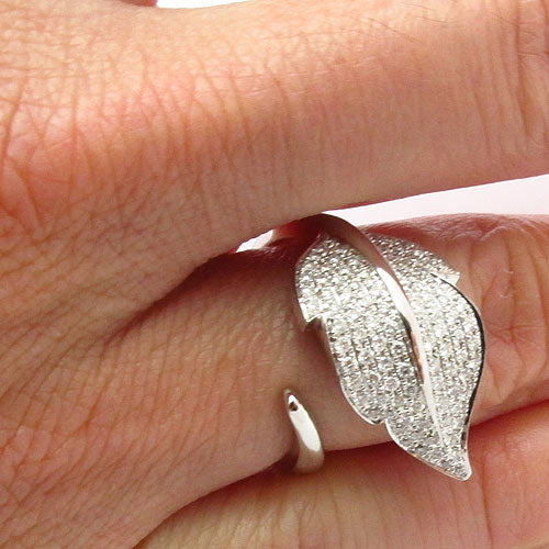18k Gold Diamond Open Leaf Wrap Ring