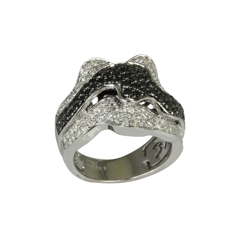 18k Gold Abstract Black & White Diamond Ring