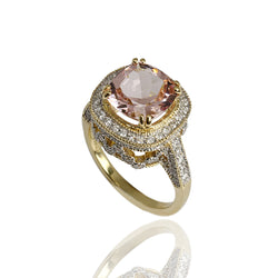 18k Gold Cushion Morganite & Diamond Ring