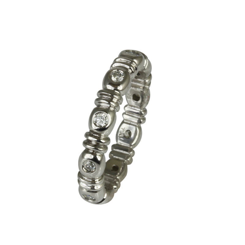 18k Gold Bezel Diamond Stackable Ring