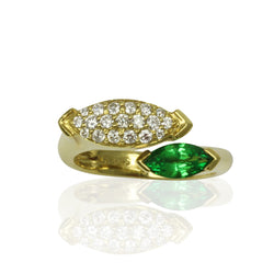 18k Gold Marquise Tsavorite & Diamond Ring