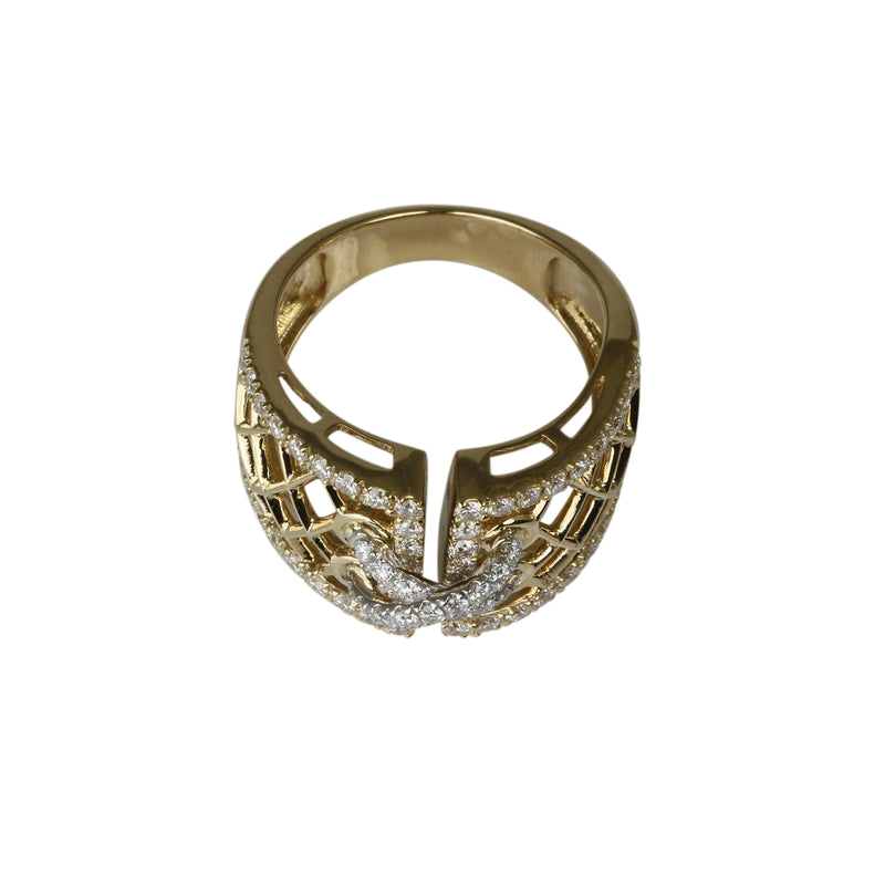 14k Gold & Diamond Lace Up Corset Ring