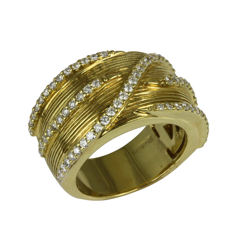 18k Gold Textured Diamond Ring