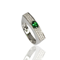 18k Gold Tsavorite & Diamond Interstellar Ring