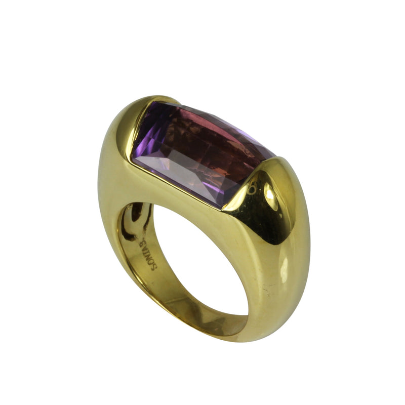 18k Gold Fancy Cut Amethyst Ring