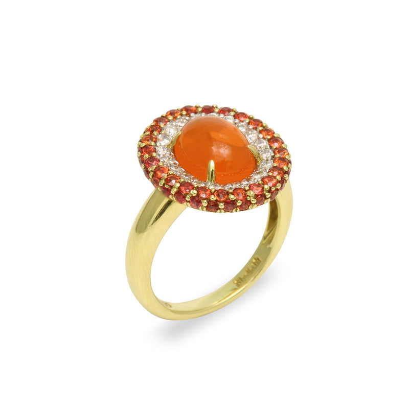 18k Gold Fire Opal, Orange Sapphire & Diamond Ring