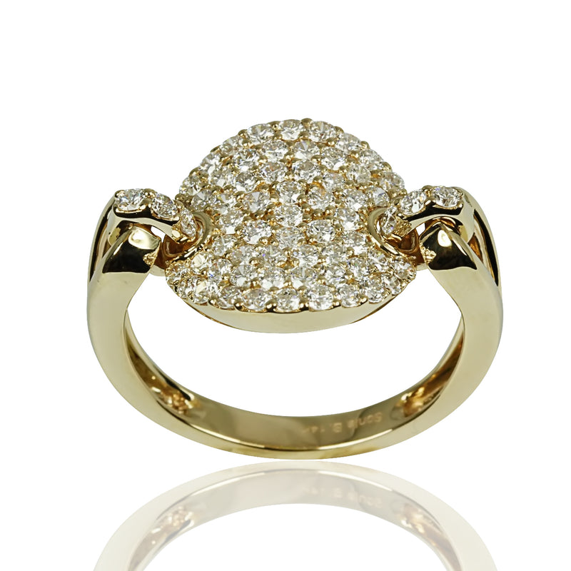 14k Gold & Diamond Pave Disk Link Ring