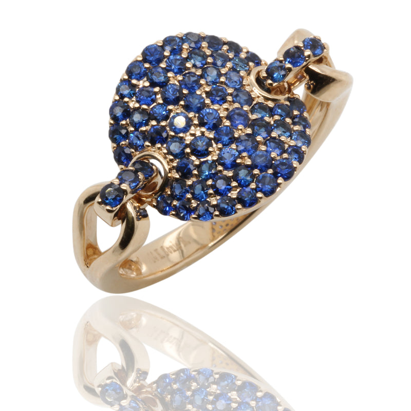 14k Gold & Blue Sapphire Pave Disk Link Ring