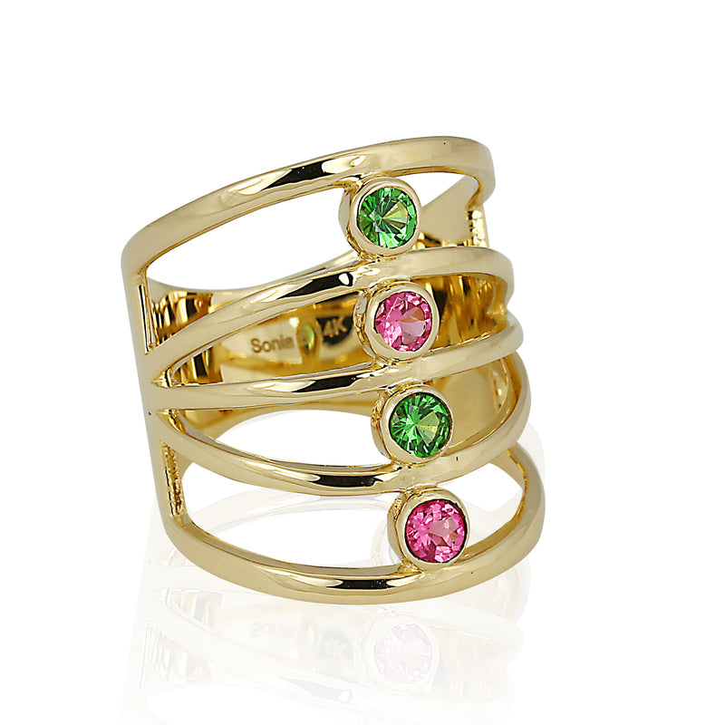 14k Gold Pink Spinel & Tsavorite Ring