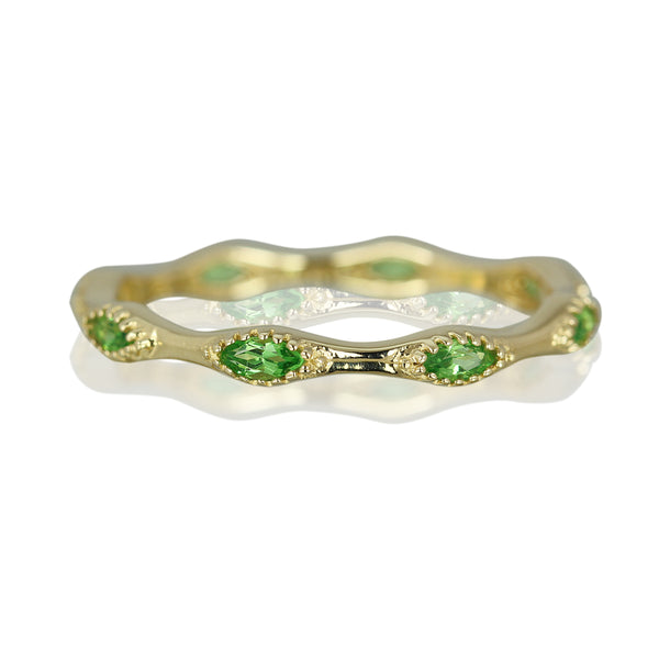 14k Gold Marquise Tsavorite Stackable Ring