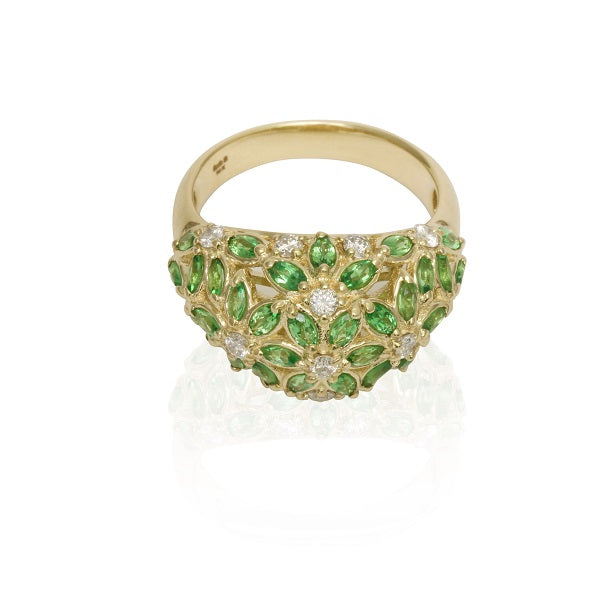 14k Gold Tsavorite & Diamond High Dome Ring