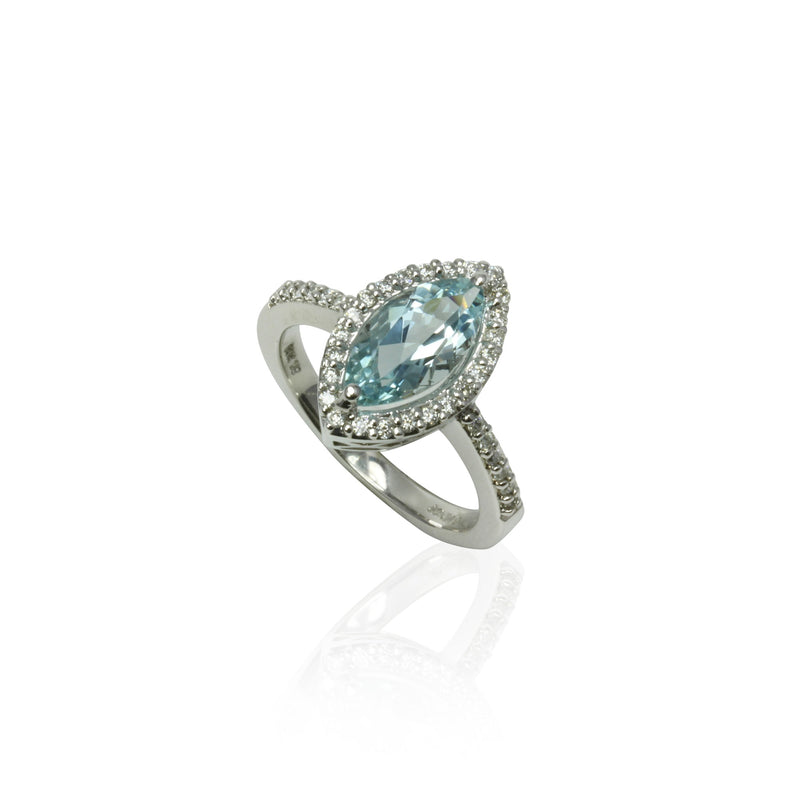 14k Gold Marquise Aquamarine & Diamond Ring