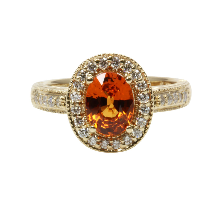 14k Gold Oval Spessartite & Diamond Ring