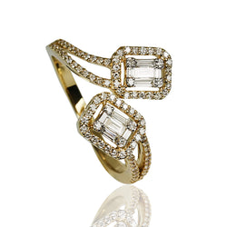 18k Gold Baguette Illusion Bypass Ring