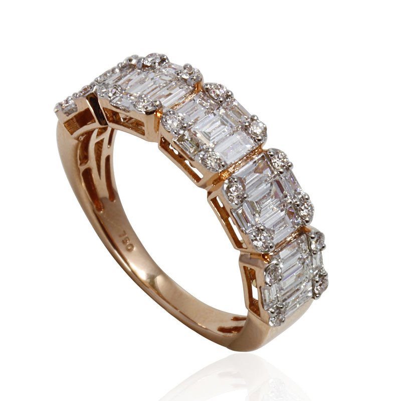 18k Gold Baguette Illusion Row Ring