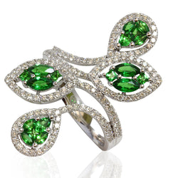 14k Gold Tsavorite & Diamond Marquise Illusion Ring