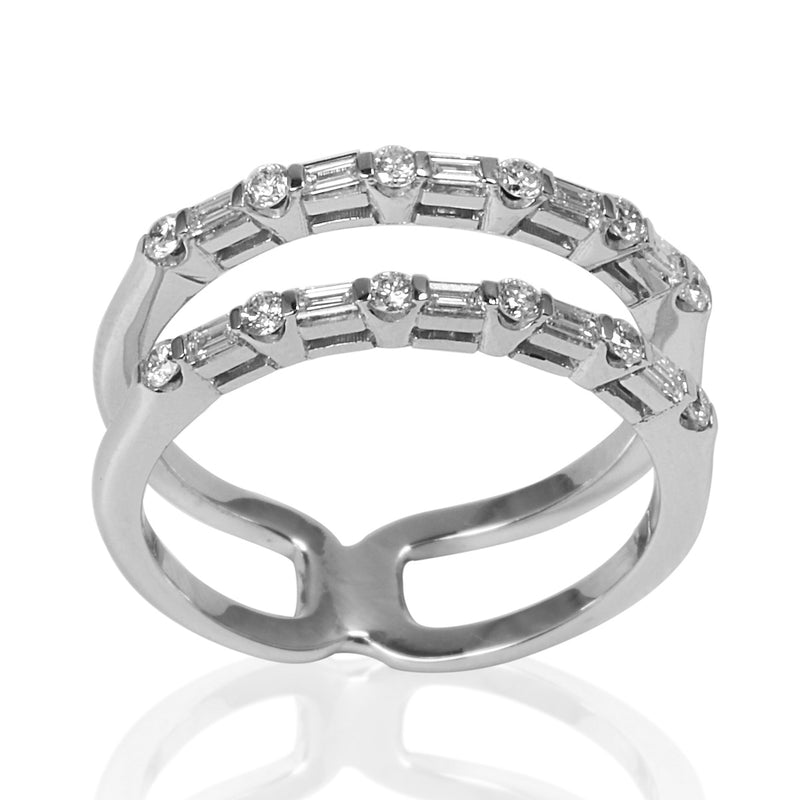 14k Gold Diamond Double Band Ring