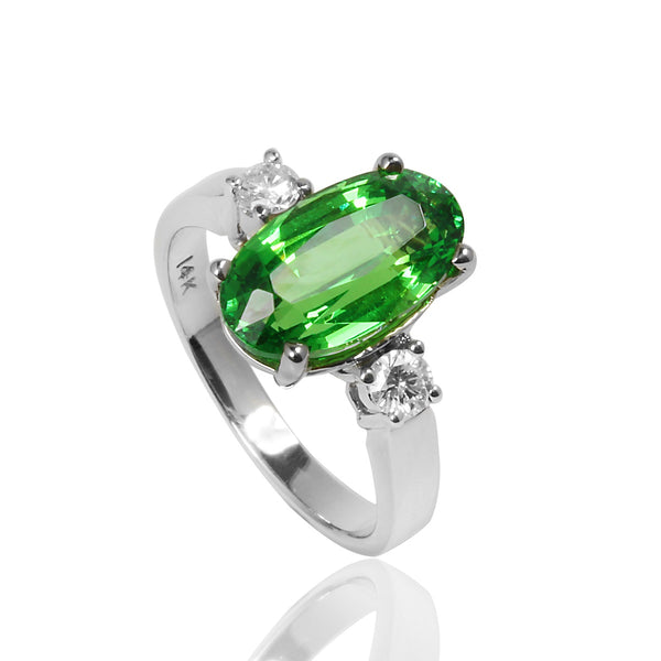 14k Gold Tsavorite & Diamond Ring