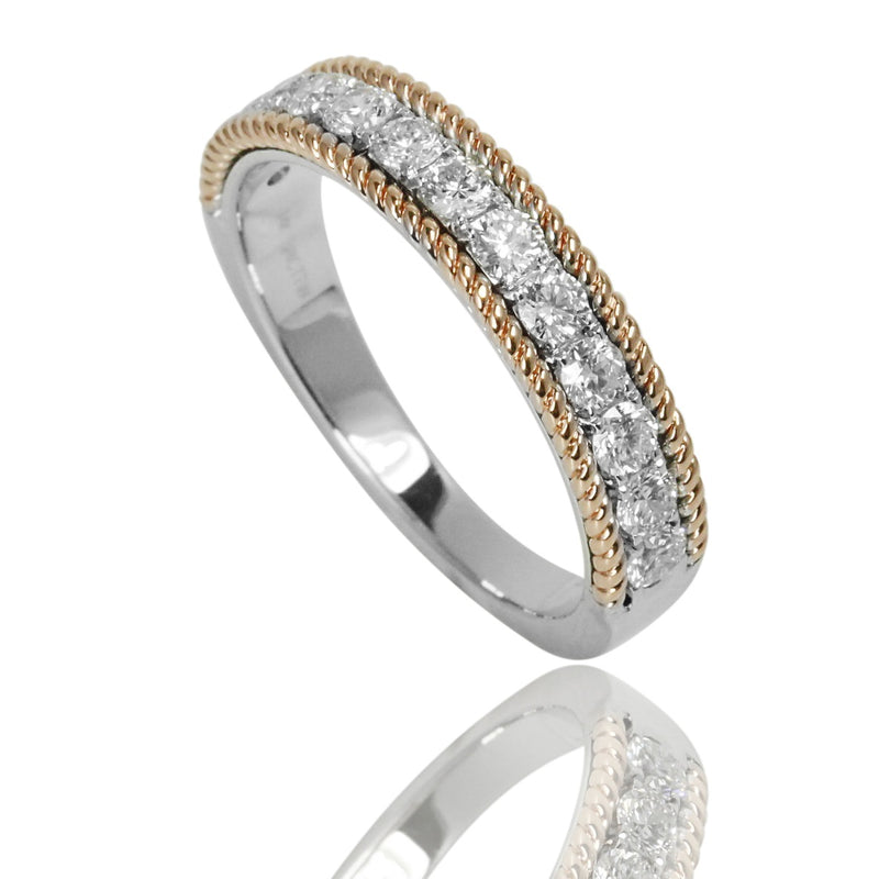 14k Gold & Diamond Rope Twist Ring
