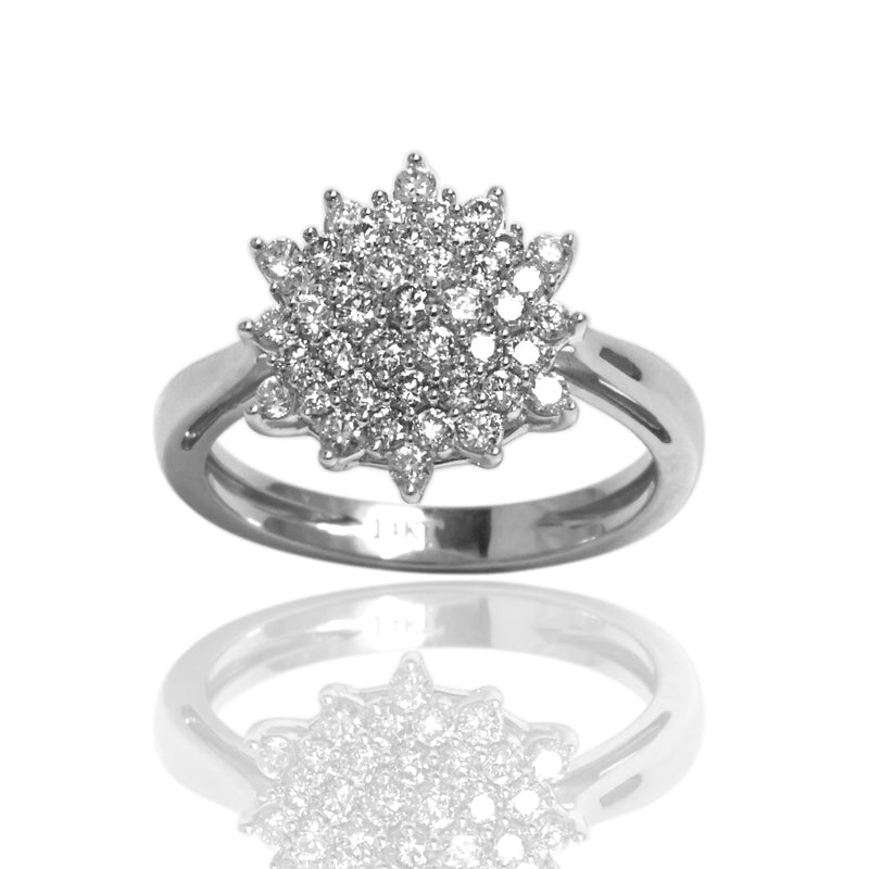 14k Gold Diamond Snowflake Ring
